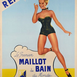 "Le premier maillot de bain du monde - Vintage Poster - Large French size poster for ""Reard of California, The first bathing suit of the world, for all the biggest stars of the world"" Louis Reard and Jacques Heim, a couturier designer from Cannes, have invented a two pieces bathing suit. After the atomic bomb testing in 1946 on the Bikini Atoll in the Marshall Islands, Reard named this fashion bomb ""The Bikini, smaller than the smallest bathing suit in the world"" This invention made a big scandal and was forbidden in many cities until the end of the sixties. ""Reard of California"" become a trade mark of sexy bathing suit, as on this poster"