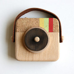 Anagram Wooden Camera Inspired by Instagram by Twig Creative - For the social media–loving family, this camera inspired by the Instagram logo is handmade using sustainable wood, cork and leather.