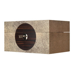 On Target Box - Brown Shagreen - 10.5 x 14 - Brown wood with a visible grain, silhouetted on shimmering shagreen, suggests the drama of total eclipse � all in a box with lines simple enough to serve in a Zen meditation garden or a highly ornamented transitional bedroom.  The strongly contrasting but equally neutral, organic textures draw the eye with their unconventional character.  A central keyhole completes the design.