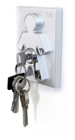 """J-Me - His & Hers Keyholder - This brilliant key holder unlocks the secret to knowing where your keys are at all times. Whether you live alone or with a partner, mount it right by your main entrance and never again hear, """"Where are my keys?!"""""""