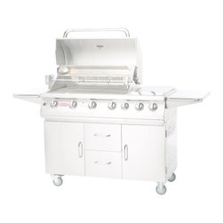 Bull - 7 Burner Premium Grill LP - The 7 Burner Premium cart is the largest and most versatile of all our carts. It has an impressive cooking area, with an Infrared Back Burner, along with extra storage space.
