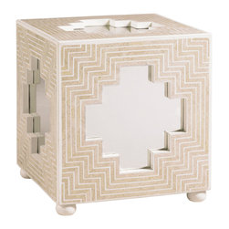 Lexington - Lexington Henry Link Trading Co. Bengali Cube 4011-710 - A bold geometric pattern of polished stone radiates outward from the stylized Moroccan cross on the sides and top, drawing the eye to the reflection of mirrored glass inserts. Bun feet are finished in soft Ivory.