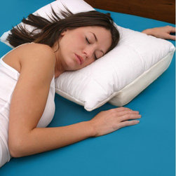 Deluxe Comfort - Sleep Better Pillow - Features: -Sleep better pillow.-Perfect pillow for every type of sleeper.-Uniquely designed with a lateral recess along the entire length of the pillow and a center tunnel for alternative arm positions.-Provides support for your arm, head and neck, reducing shoulder discomfort, numbness and tingling.-Aligns your neck and spine properly, keeping your airways open, reducing snoring and sleep apnea.-Proper spinal alignment prevents morning stiffness.-Developed with your comfort in mind, a very soft velour zippered machine washable cover.-Decreases morning stiffness and shoulder pain.-Opens airways, cease the cause of snoring and sleep apnea.-Support your body frame for proper alignment of the spine.-Improves arm circulation. No more numbness or pain.-Reduces lower back and neck pain.-Multi-positional, multi-functional.-Center and side recess to accommodate your arm, reducing pressure.-Extra-soft removable, washable cover.-Constructed of high quality, hypoallergenic urethane memory foam.-Distressed: No.Dimensions: -Product weight: 5 lbs.-Small: 4.5'' H x 22'' W x 15'' D.-Large: 5'' H x 22.5'' W x 15.5'' D.