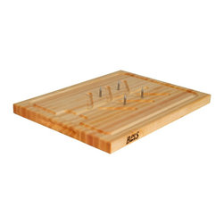 John Boos - John Boos Reversible Edge Grain Slicer Board - 20 x 15 x 1.25 Inches - From a Thanksgiving turkey to a magnificent roast, your days of wresting with the carving are finally over. This solid, hardwood cutting board comes with removable pins to keep dinner from shifting while you carve, and decorative grooves collect juices for gravy.