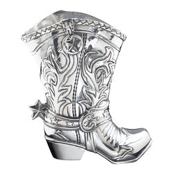 Arthur Court - Cowboy Boot Pitcher-Star - Bring some giddyup into your kitchen with this silver boot-shaped pitcher. Cowboy details like its star-shaped spur make this accessory as fun to display as it is to use. Whether you're hosting the neighborhood barbecue or staying in for family Tex Mex night, this silver pitcher will turn your meal into an event.