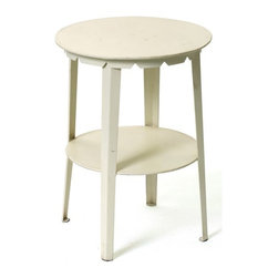 Farmers Stool / Sidetable - Exhibit your sophisticated sense of taste and style with this creatively designed iron Farmers Stool/Side table from French country furniture collection. It features a round table top in a hand painted white finish that can be utilized to be kept on the side or beside the wall.