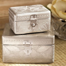Pressed Silver Jewelry Boxes, Set of 2 - Look closely and you can see the botanical images created from vintage wallpaper in these jewelry boxes. I love their vintage feel and think that my jewelry would be real happy sitting in here.