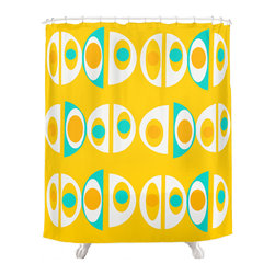 Crash Pad Designs - Crash Pad Designs 50's inspired Shower Curtain - Outfit your bathroom with this playful shower curtain for a pop of color. Flower design is printed on machine washable woven polyester, which features 12-stitched button holes for hanging. liner and rings are not included.