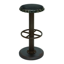 BZBZ56076 - Unique Black Bar Stool with Soda Cap Seat - Unique black bar stool with soda cap seat. Take a load off in style with a unique antique bar stool that's as comfortable as it is eye-catching. This black steel alloy bar stool features a unique seat in the shape of a soda bottle cap. A fun addition to the breakfast counter or mini bar to serve your favorite soda--or anything else for that matter.