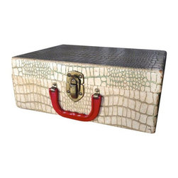 Pre-owned White Alligator Case - Who wouldn't love the perfect little box for treasures? This faux white croc case with red plastic handle is simply darling.  The paper lined interior is in good clean condition considering that it is a vintage piece.