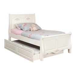 American Woodcrafters - Summerset White Sleigh Bed - (Twin) - Choose Size: TwinSweet dreams on this charming sleigh bed are just a magical click away. As a Summerset Collection centerpiece, it's featured in twin and full sizes to suit any girl's tastes. Summerset Collection. Includes headboard, footboard and rail set. Trundle not included. Solid wood and wood veneer construction. Free slat pack included. 1-Year manufacturer's warranty. Twin:. Head Board: 42 in. W x 5.13 in. D x 45 in. H (40.5 lbs.). Foot Board: 42 in. W x 5 in. D x 45 in. H (27.2 lbs.). Full:. Head Board: 56.5 in. W x 5.13 in. D x 45 in. H (50.8 lbs.). Foot Board: 56.5 in. W x 5 in. D x 25 in. H (34.8 lbs.)