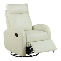 Monarch Specialties - Monarch Specialties 8080IV Swivel Rocker Recliner in Ivory Leather - This contemporary design accent chair combines 3 functional elements.....it swivels......it rocks.....and it reclines, ensuring that you are always in a comfortable position. This ivory bonded leather chair with a padded head rest was designed for ultimate comfort. Whether reading a book or watching sports this will be the chair that everyone will want to sit on. The easy glide motion and the contemporary design makes it a chic and fashionable addition for your den, bedroom, living room or basement. It truly is a chair for any room in your home.