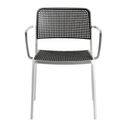 Kartell - Audrey Arm Chair, Set of 2, Aluminum/Black - Audrey, the eclectic seat combining aluminum and plastic and designed by Piero Lissoni is a versatile and contemporary chair which because of its simple, clean lines due to a special die-casting process is composed of only two parts and made without welding. It is multifunctional and adaptable to all uses, indoor, outdoor, the home, office and contract, with its wonderfully rich range of combinations (about 50 in all). Audrey comes in either the chair or the armchair (with arms) version with seat and back in various colors of plastic and the aluminum frame has three versions: painted aluminum, painted white or painted black. This seat can also be used outdoors.