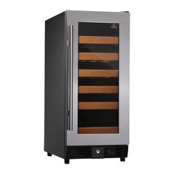 KingsBottle - 25 Bottle Compressor Single Zone Wine Cooler Full, Stainless Steel - If you are looking for the perfect place to store your small, but impressive wine collection, look no further than this beautiful 25 bottle single temperature cooler. The full glass door and stainless steel handle make it a sleek and modern work of art that can stand alone in any home. Each unit is built with our exquisite attention to detail and with a true love of wine in mind. The perfect cooler for that perfect bottle