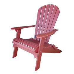 Phat Tommy - Deluxe Adirondack Chair in Dark Red - Today, more than ever, people are finding their place of relaxation in their own backyard. Chairs stay beautiful year after year with no rotting, splitting or cracking.