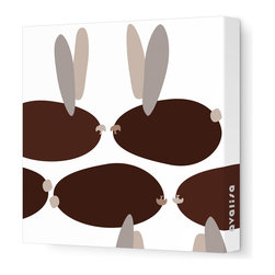 """Avalisa - Animal - Bunnies Stretched Wall Art, 12"""" x 12"""", Brown - Wit and whimsy — for your child's room, or to appeal to the kid inside — is the whole point of this bubbly bunny print. And unfussy, unframed stretched fabric keeps the look from being too cute."""
