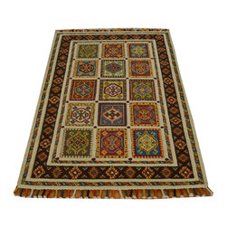 Colorful Neem Buft Soumak Raised Pile 3' x 5' 100% Wool Hand Knotted Rug SH17011 - This collections consists of well known classical southwestern designs like Kazaks, Serapis, Herizs, Mamluks, Kilims, and Bokaras. These tribal motifs are very popular down in the South and especially out west.