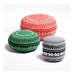 Zig Zag Pouffes - These graphic Donna Wilson poufs add just the right amont of pattern and color to any space.