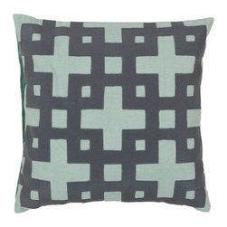 Surya Rugs - Slate Blue and Pale Aqua Green Polyester Filled 22 x 22  Pillow - - Add style and sophistication to any room with this modern pillow accented with slate blue and pale aqua green. This pillow has a polyester fill and zipper closure. Made in India with one hundred percent cotton this pillow is durable and priced right  - Cleaning/Care: Blot. Dry Clean  - Filled Material: Polyester Filler Surya Rugs - AR085-2222P