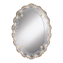 "Inviting Home - Oval Venetian Mirror with Gold Highlights - Venetian mirror; 24""W x 3""D x 34""H; hand-etched glass with gold highlights; hand-crafted in Murano (Italy) ; Elegant oval Venetian mirror framed in hand-etched glass with scalloped trim. Hand etched design featuring scrolled leaf and flowers motif. Scalloped mirror trim is crafted with gold highlights beaded glass edging and embellished with eighteen beautiful rosettes hand-crafted from translucent glass with milky-white highlights. Four smaller rosettes with gold highlights grace the inner border of this Venetian mirror. This Venetian mirror is hand-crafted in Italy"