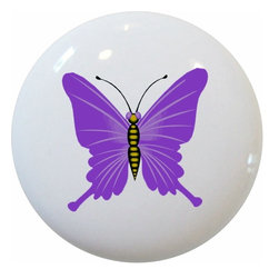 Carolina Hardware and Decor, LLC - Purple Butterfly Ceramic Knob - 1 1/2 inch white ceramic knob with one inch mounting hardware.  Great as a cabinet, drawer, or furniture knob.  Adds a nice finishing touch to any room!