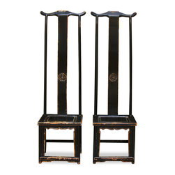 "China Furniture and Arts - Elmwood Ming Tall Chair - Throughout centuries, Chinese artists from generation to generation have adopted the Ming aesthetic principle that ""simplicity is beauty"". Exemplary of this principle, our pair of Elmwood high-backed Ming chairs are constructed with a clean and sleek design. Hand applied black distressed finish. Sold individually at $699.00 each."