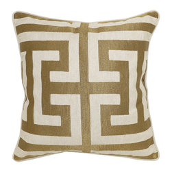 Capital Bronze Pillow - Beautifully handmade and hand woven, each pillow is made with a quality fill of 95% feather and 5% down. The Villa Home collection offers a variety of colors, textures and accents that will add a feeling of luxury to your home. The Capital Pillow is 50% Cotton and 50% Linen.