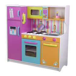 Kidkraft - KidKraft Deluxe Big and Bright Kids Play Kitchen - Kidkraft - Kitchens - 53100 - Kids will feel just like mom and dad when they cook up fun with the Deluxe Big and Bright Kitchen. This wooden kitchen is cute colorful and built to last.