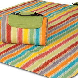 "Picnic Plus - Large Mega Mat, Salsa Stripe - Large Mega Mat 100% Waterproof Backing All Season Picnic Blanket, Beach Mat And More, Salsa Stripe. Color/Design: Salsa Stripe; 100% fully waterproof backing; Foam padded lining; Soft woven breathable acrylic top; Adjustable shoulder strap for easy carrying; Extremely portable; Folds easily for travel and storage; Commercial machine washable; Opens to a full 68"" x 82"" and can seat 4-6 persons plus gear. Dimensions: 68"" x 82"" open"