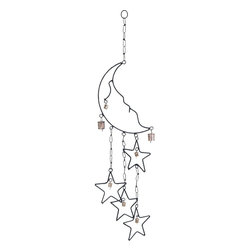 Benzara - Durable Beautiful Metal Moon Star Wind Chime - Lend a rustic charm to your bedroom decor with the Metal Wind Chime with Moon and Star Design (31 in. H). You can even lull your children to sleep using this wind chime as a source of many a fairytale. With an assortment of bells adorning the ringlets on the moon and the dangling stars, this wind chime emits soothing, tinkling sounds as the breeze flows. Suspended from a hook using metal chains, this wind chime exudes great aesthetic appeal. The aesthetically crafted moon crescent seems to rest peacefully over four dangling stars that move with the breeze and bump into each other making the delicate bells tinkle. This unique wind chime makes a great gift for your friends or dear ones on a birthday or any other special occasion. Being made from rust-proof metal, it lasts long and does not corrode due to atmospheric effects..