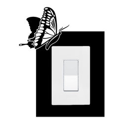 StickONmania - Lightswitch Butterfly Motif #5 Sticker - A vinyl sticker decal to decorate a lightswitch.  Decorate your home with original vinyl decals made to order in our shop located in the USA. We only use the best equipment and materials to guarantee the everlasting quality of each vinyl sticker. Our original wall art design stickers are easy to apply on most flat surfaces, including slightly textured walls, windows, mirrors, or any smooth surface. Some wall decals may come in multiple pieces due to the size of the design, different sizes of most of our vinyl stickers are available, please message us for a quote. Interior wall decor stickers come with a MATTE finish that is easier to remove from painted surfaces but Exterior stickers for cars,  bathrooms and refrigerators come with a stickier GLOSSY finish that can also be used for exterior purposes. We DO NOT recommend using glossy finish stickers on walls. All of our Vinyl wall decals are removable but not re-positionable, simply peel and stick, no glue or chemicals needed. Our decals always come with instructions and if you order from Houzz we will always add a small thank you gift.