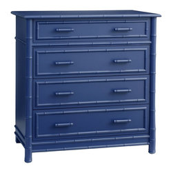 Faux Bamboo Dresser, Blueberry - I love the faux bamboo detail and indigo hue of this dresser from Layla Grace.