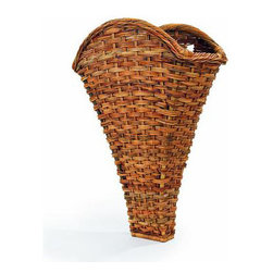 """Origin Crafts - French country rattan winery wall basket 36"""" - French Country Rattan Winery Wall Basket 36"""" Excellent reproduction of a classic basket used in the winemaking regions of Europe to pick and store the grapes. Today, this makes a beautiful statement in a large room filled with dried or fresh flowers. Two knotches in the back make for easy wall"""