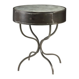 Kathy Kuo Home - Eugene French Industrial Loft Wrought Iron Bistro Cafe Table - Industrial iron meets French Country design in this unexpected accent table. As versatile as it is gorgeous, this wrought iron rendering serves as a bistro table, side table or nightstand. Curved legs and a small drawer add feminine touches to this powerful piece.