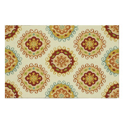 """Loloi Rugs - Loloi Rugs Sunshine Collection - Ivory / Multi, 5' x 7'-6"""" - The aptly named Sunshine Collection from China transforms familiar floral designs into true designer looks that will brighten a pool, patio, or living room. With vivid punches of color and bold, overscaled florals, rugs in the Sunshine Collection quite literally will offer an extreme makeover for the indoor/outdoor category. Not just a color story, Sunshine's beautifully hand-hooked polypropylene texture adds powerful dimension to these spirited and infinitely stylish rugs."""