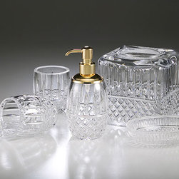 Comforting and Luxurious Bath Details - Marie Crystal from Labrazel - This sparkling lead crystal is mouth blown, then cut by hand. The pump dispenser is offered in a choice of polished chrome or polished gold plated finish. Made in Italy.