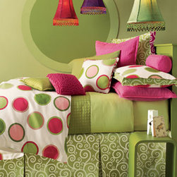 """Legacy Home-""""Cartwheel"""" Bed Linens - Cheerful and oh, so fun...you'll love curling up under """"Cartwheel"""" bedding.  Even the name sounds fun!  Perfect for a girls or young ladies bedroom. The tailored dust skirt has three panels and an 18"""" drop. Pompom pillow is linen. Available in various sizes."""