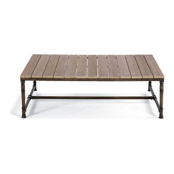 Frontgate - Hyde Park Outdoor Teak-top Outdoor Coffee Table - Classically-detailed 100% ingot aluminum base. Base with rust-resistant multi-tonal powdercoat finish. Slatted premium teak top has a satin-smooth finish. Left untreated, teak will weather to a silvery patina. Complete the ensemble with the Hyde Park Teak-top Coffee Table, the perfect complement to the elegant ocean-gray wicker of our Hyde Park seating collection. With a classically detailed, cast-aluminum base and slatted teak top, this piece provides extra elegance that is virtually maintenance free. Part of the Hyde Park Collection.  .  .  .  .