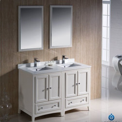 "Fresca - Fresca FVN20-2424AW Oxford 48"" Antique White Double Sink Bathroom Vanity - Fresca FVN20-2424AW Oxford 48"" Antique White Traditional Double Sink Bathroom Vanity"