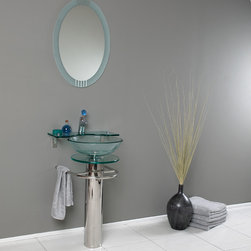 Fresca - Fresca Ovale Modern Glass Bathroom Vanity w/ Frosted Edge Mirror - Transform your bathroom into a contemporary oasis with a Fresca Ovale Glass Bathroom Vanity, part FVN1019. This modern bathroom vanity features a tempered-glass water basin and shelf for your grooming products, and it comes paired with a matching oval wall mirror. The chrome-finished brass faucet pairs with the rest of the set, and the stainless-steel base on this glass bathroom vanity also has an attractive chrome finish and a U-shaped bar, ideal for holding hand towels.