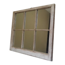 The Decorative Company - Distressed Window Mirror - This window was reclaimed from a home in Vail, NC that was built in the 1940's and given new life at The Decorative Company in 2014.  A few shades of off white and shows much of the natural wood though out. This piece has great detail in the paint and the distressing. 6 panes and it has a great warm feel to it. All windows come with a paper backing and a hang wire installed for easy placement in any room. All mirrors attached are new.