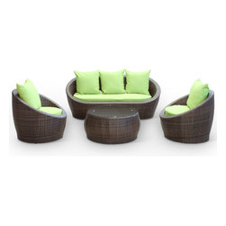 East End Imports - Carmel Outdoor Rattan 4 Piece Set|Brown/Green - Sojourn to a conducive atmosphere presented in proper proportions with this sleek Carmel outdoor set. Vividly express yourself as you attune to your surroundings and develop positive rapport among friends and family. Appropriate times begin now with a modern touch of adventure. Pillows as shown included