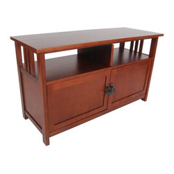 Alaterre Furniture - Mission TV Stand - Cherry - This attractive & versatile piece will make a statement in your living space. This television stand/cabinet is 42 in. wide & 16 in. deep for your television. Stand has a shelf for components & a cabinet to store gaming supplies, videos, & more. Cabinet space keeps all your gaming supplies & DVD's tucked neatly out of the way. Made of select hardwoods. Made in China. 42 in. L x 16 in. W x 24 in. H (60 lbs.)Classic Mission Style furniture collection is handsomely crafted & versatile with many decorating styles.
