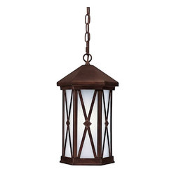 Capital Lighting - Capital Lighting Saxton 23W Energy Efficient Traditional Outdoor Hanging Light X - From the Saxton Collection, this Capital Lighting outdoor hanging light is stylishly elegant and energy efficient, making it a great addition to your traditional outdoor lighting scheme. Each of the window panes features an 'X' motif with a diamond-shaped medallion at the center for added visual interest. The Burnished Bronze finish and frosted seeded glass windows pull this look together.