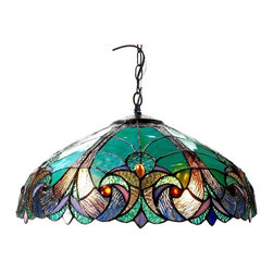 Chloe Lighting - Liaison 2 Light Ceiling Pendant - Glass, metal & electrical components. Overall: 18 in. L x 18 in. W x 8.5 in. H (7 lbs.)LIAISON, this Victorian ceiling pendant is handcrafted with pure stained glass, with gem tone, soft pedestals, as well as the Victorian motif. The warm color glow of the stained glass will creates warmth to your home. With this hanging ceiling pendant, you can make a soft romantic glow by using just the mid-section.