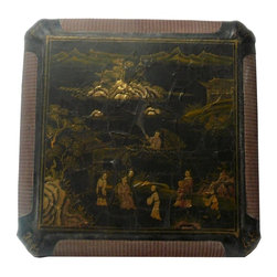 Golden Lotus - Chinese  Rattan Lacquer People Scenery Box - This is an old box made of compressed wood , lacquer and rattan. The reddish area is rattan made. The surface golden color graphic is a traditional Chinese people gathering scenery. The lacquer has the crackle pattern.