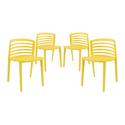 Curvy Dining Chairs Set of 4 - Indulge in no-frills, straightforward contemporary style with this modern multi-purpose chair. Made from heavy-duty molded plastic this chair was built to last. Eye catching and comfortable, this reproduction brings fashion and flavor to your space.
