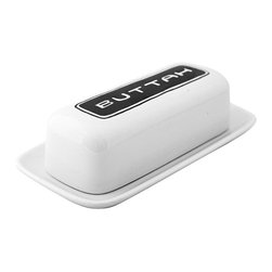 Fishs Eddy Brooklynese Butter Dish - The folks at Fishs Eddy in New York have been designing commercial-quality dishware for 25 years.