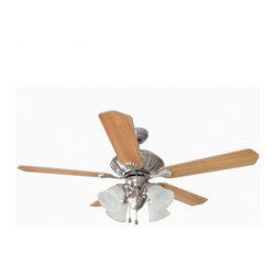 "Builder's Collection - Satin Nickel 52"" Ceiling Fan w/ Light Kit - Motor Finish: Satin Nickel"