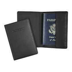 "Royce Leather Gifts - Black Leather RFID Blocking Debossed Passport Jacket - Travel in personalized style with this Black Leather Debossed Passport Jacket. An impressive accessory for all of your international travails! Something as important as your passport deserves proper protection, which is why the Royce Leather Company includes RFID protection technology in their distinctive and appealing leather cases. Whether you're a frequent flyer or presenting it to one, this is the ideal way to keep one's passport secure at all times. Quality constructed of top grain, Nappa Cowhide, genuine leather with the word ""Passport"" handsomely debossed on the front as well as your 3 initial monogram skillfully custom debossed, turning it into your signature piece. This sophisticated wallet of opulent leather enhances your life, at home or on the road, with the peerless power of classic style.                          * Dimensions: 5 5/8""L X 4""W"